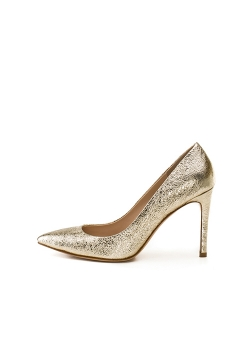 Natural Leather Golden Stilettos Alice