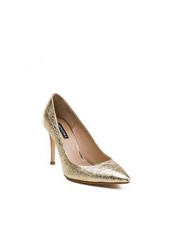 Pantofi aurii din piele naturala Alice
