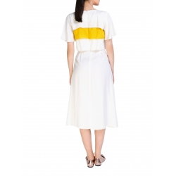 Midi White Dress With Flounces Komoda