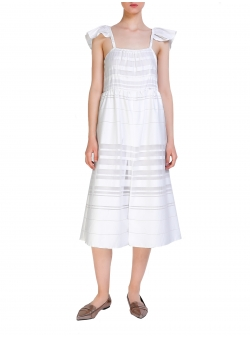 White Dress With Ruffles Komoda