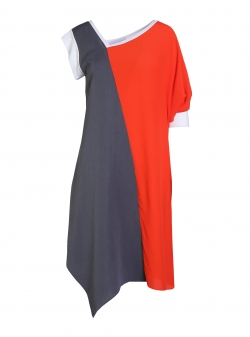 Grey And Orange Dress Larisa Dragna