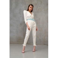 White Fitted Jumpsuit Ramelle