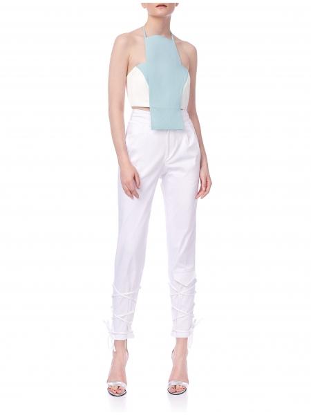 Pantaloni albi cambrati Ramelle