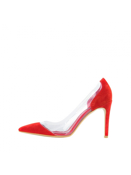 Red Leather Stiletto Shoes Ginissima