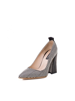Striped Shoes With Architectural Heel Ginissima