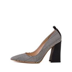 Pantofi cu dungi si toc geometric Ginissima