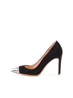 Pantofi stiletto negrii cu varf argintiu Ginissima