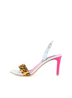Hot Pink And Animal Print Sandals Ginissima