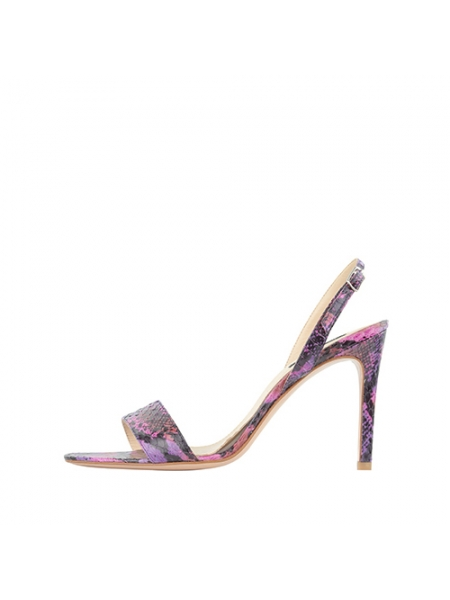 Violet Python Leather Sandals Ginissima