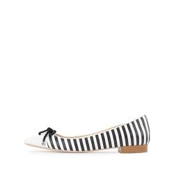 White Striped Flats Alice Ginissima