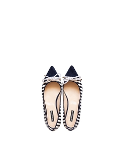 Black Striped Flat Shoes Ginissima