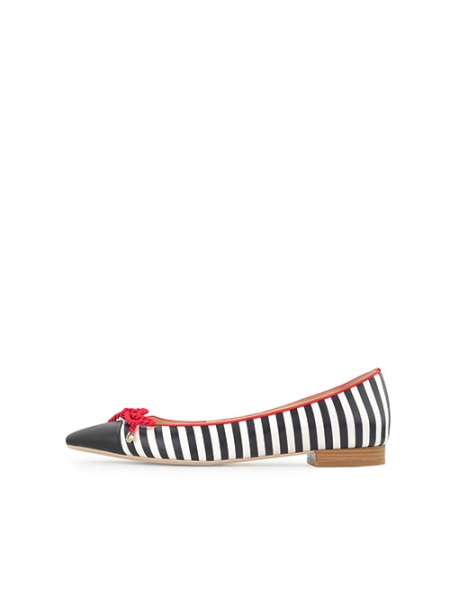 Red Striped Flat Shoes Ginissima
