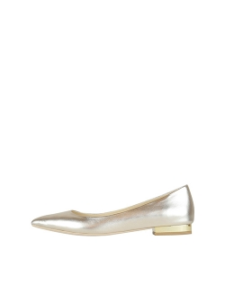 Silver Natural Leather Flats Ginissima
