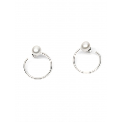 Minimalist Silver Pearl Earrings Gabriela Secarea