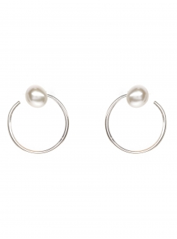 Minimalist Silver Pearl Earrings Gabriela Secarea
