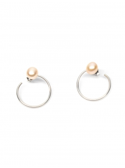 Minimalist Rose Pearl Earrings Gabriela Secarea