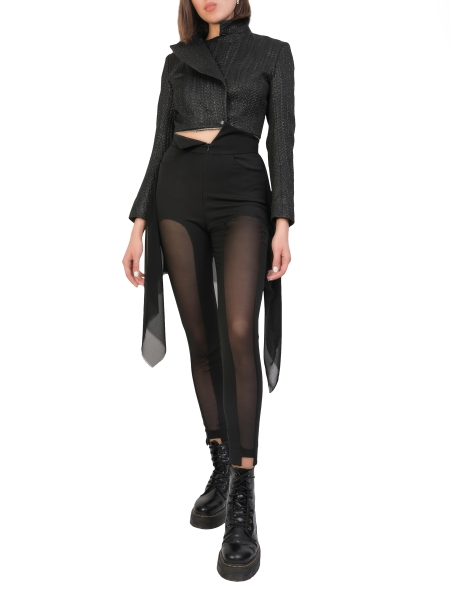 Black Fitted Asymmetric Pants Larisa Dragna