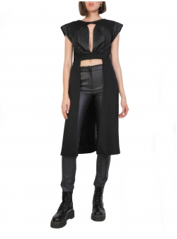 Black Asymmetric Vest With Cut-Outs Larisa Dragna