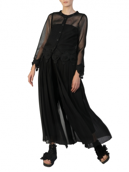 Cropped jacket with detachable pleated panel Silvia Serban