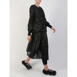 Black Midi Organza Skirt With Stripes Silvia Serban