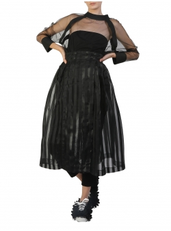Black Midi Organza Skirt With Stripes Silvia Serban