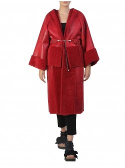 Modular Red Faux Fur Coat Silvia Serban