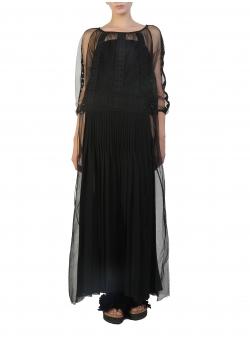 Rochie lunga neagra cu broderie aplicata Silvia Serban