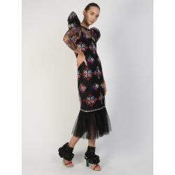 Black Midi Dress With Embroidery Silvia Serban