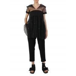Bluza neagra din tulle cu maneci scurte Silvia Serban