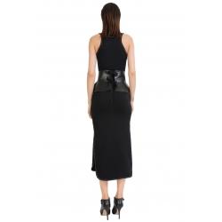 Rochie midi neagra cu cusaturi albe ISSO