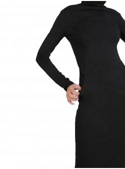 Rochie neagra cambrata cu fermoar ISSO