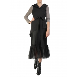 Black Cotton Blouse With Grey Sleeves Larisa Dragna