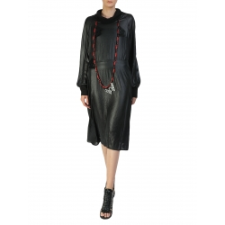 Black Midi Dress With Rolled Collar Larisa Dragna