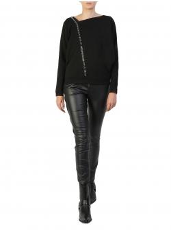Bluza neagra din bumbac cu guler asimetric Larisa Dragna