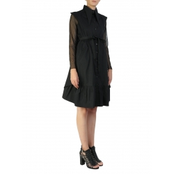 Black Midi Dress With Tulle Sleeves Larisa Dragna