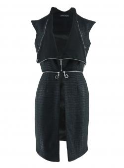Jacheta neagra din lana cu guler supradimensionat Larisa Dragna