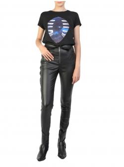 Tricou negru cu imprimeu digital Larisa Dragna