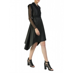 Black Dress With Asymmetric Cut And Long Sleeves Larisa Dragna