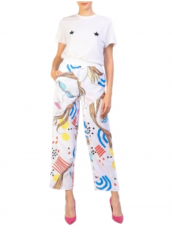 White Sport Pants With Digital Print My Simplicated