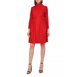 Short Red Dress With Rolled Collar Ella Komoda