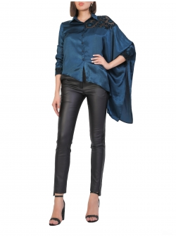 Blue Satin Shirt With Lace Insert Komoda