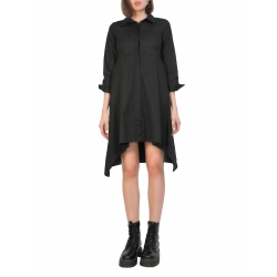 Black Cotton Shirt Dress Komoda