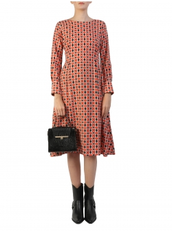 Midi Dress With Long Sleeves And Retro Print Komoda