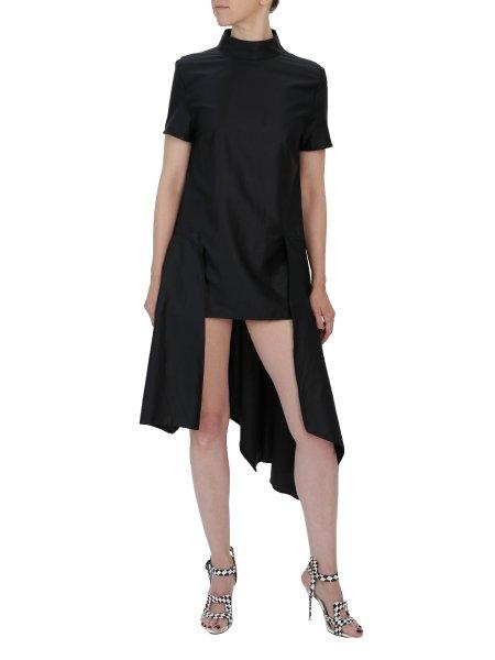 Asymmetric Black Cotton Dress