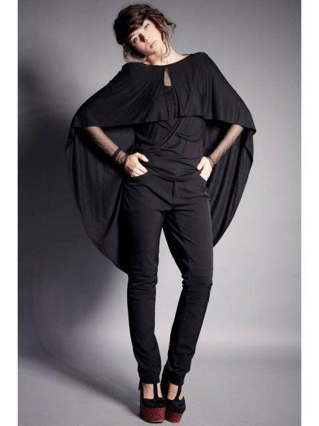 Asymmetric Black Jersey Blouse with Braids