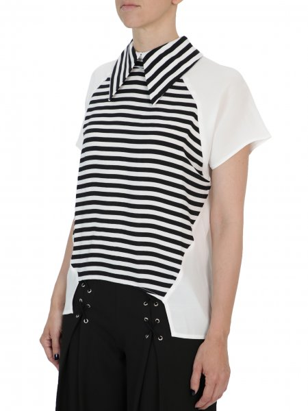 Asymmetric Blouse With Oversized Collar
