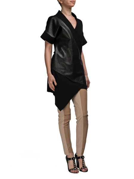 Asymmetric Leather Insertion Top