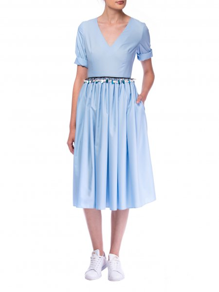 Baby Blue Poplin Dress With Waist Details