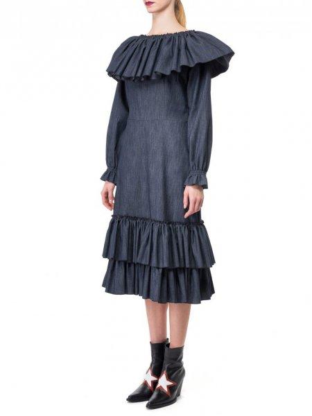 Bardot Neckline Denim Dress