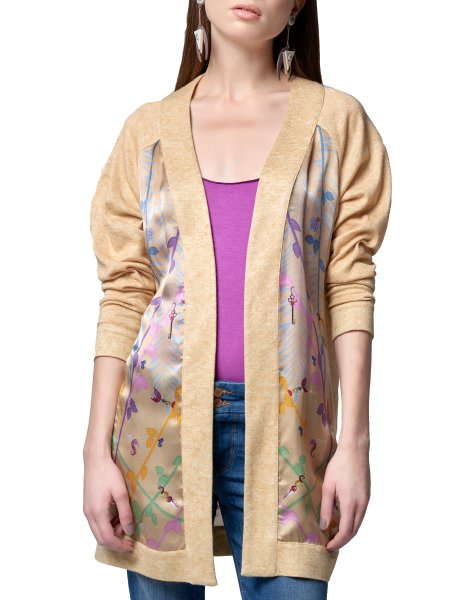Beige Cardigan with Silk Insertions